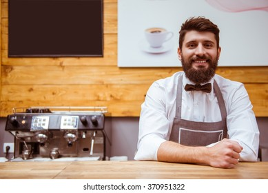 Young handsome barista with beard in shirt and bow tie smiling while standing at the bar counter