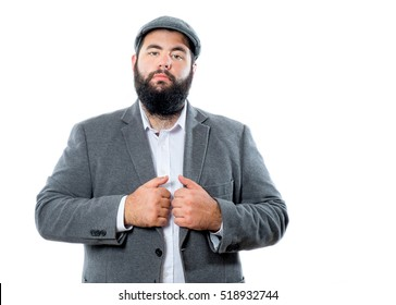 Young handsome beard man wearing classic clothes