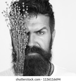 young handsome bearded man with long beard moustache and brunette hair with emotional face, copy space. Black and white portrait of bearded man with flowers in studio white background. High Contrast.