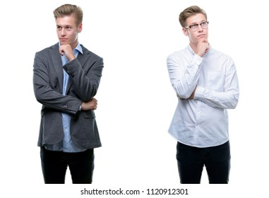Young handsome blond business man wearing different outfits with hand on chin thinking about question, pensive expression. Smiling with thoughtful face. Doubt concept.