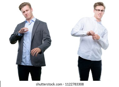 Young handsome blond business man wearing different outfits disgusted expression, displeased and fearful doing disgust face because aversion reaction. With hands raised. Annoying concept.