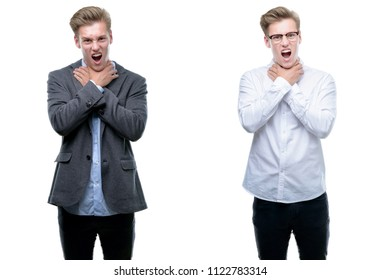 Young handsome blond business man wearing different outfits shouting and suffocate because painful strangle. Health problem. Asphyxiate and suicide concept.