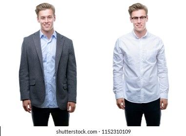 Young handsome blond business man wearing different outfits with a happy and cool smile on face. Lucky person.