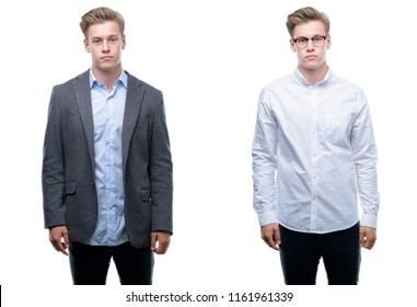 Young handsome blond business man wearing different outfits with serious expression on face. Simple and natural looking at the camera.