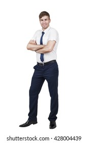 young handsome business man posing isolated over white