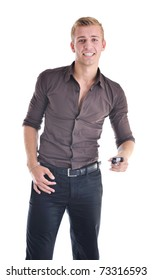 young handsome businessman with cellphone isolated on white