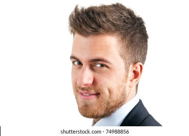 Young handsome businessman with green eyes isolated on white