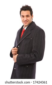 young and handsome businessman portrait on white background