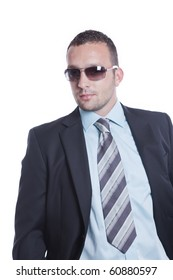 Young handsome businessman with sunglasses