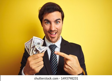 Young handsome businessman wearing suit holding dollars over isolated yellow background very happy pointing with hand and finger
