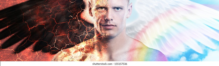 Young handsome caucasian man with demon and angel wings