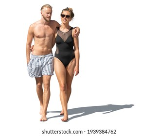 Young and handsome couple in bathing suits walking barefoot isolated on white background