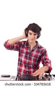 Young and handsome dj playing some music