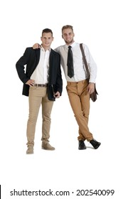 Young handsome gay business partners isolated on white background