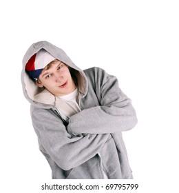 young handsome guy in the grey sweatshirt