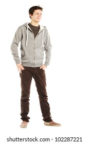 Young handsome happy man with hip style against white background