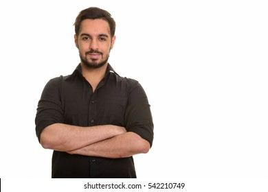 Young handsome Indian man isolated against white background