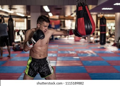 Young handsome kick boxer training hard and preparing for fight, kicking and punching heavy boxing bag. Fighter working out at gym