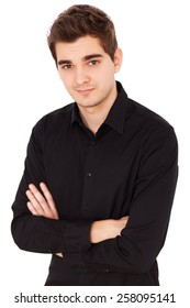 Young handsome man in black shirt portrait, white background