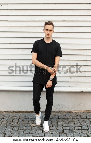 Young Handsome Man Black Stylish Dress Stock Photo Edit Now