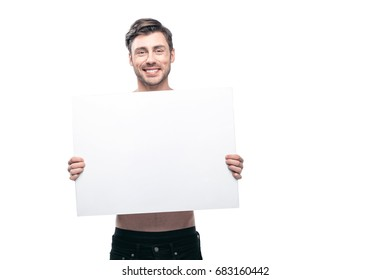 young handsome man with blank banner, isolated on white