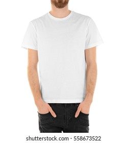 Young handsome man in blank T-shirt isolated  white, closeup
