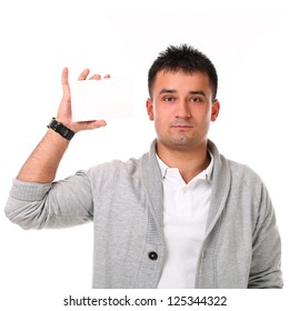 Young handsome man with board isolated over white background