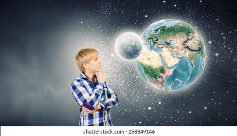 Young handsome man in casual thinking over something. Elements of this image are furnished by NASA
