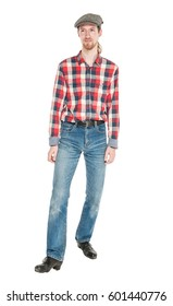 Young handsome man in checkered shirt and jeans isolated on white