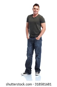 Young handsome man isolated on white background.