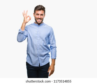 Young handsome man over isolated background smiling positive doing ok sign with hand and fingers. Successful expression.