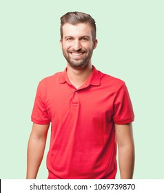 young handsome man, red polo shirt . person isolated against monochrome background