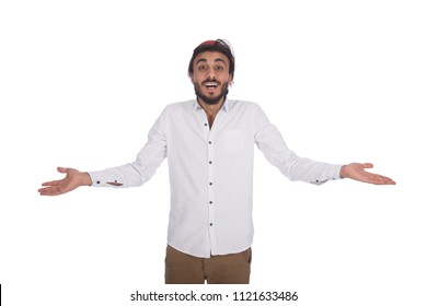 young handsome man wearing tarboosh and looking happy to camera while rising hands up , isolated in white background