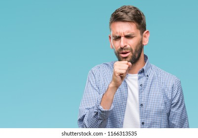 Young handsome man wearing white t-shirt over isolated background feeling unwell and coughing as symptom for cold or bronchitis. Healthcare concept.