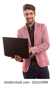 Young handsome man working with laptop computer
