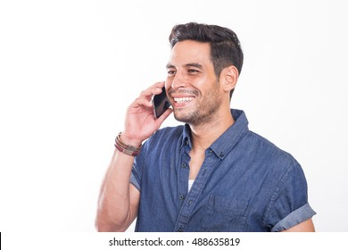 young handsome men speaking on the phone with a happy face