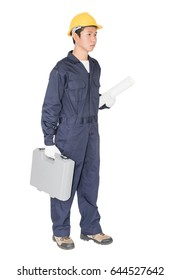Young handyman  standing with his tool box isolated on white background