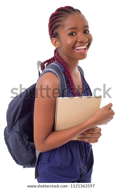 young happy african girl student, isolated on white background