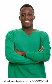 Young happy African man smiling with arms crossed isolated against white background