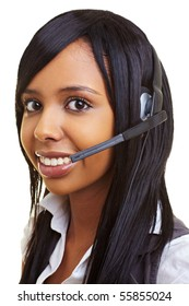 Young happy african woman with headset smiling