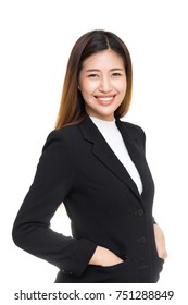 Young happy Asian woman in black suit with smiley face isolated on white background.