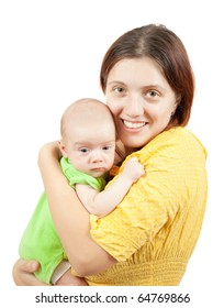 young happy beautiful mother with her little baby against white background