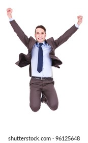 Young happy  business man jumping in the air , isolated on white background
