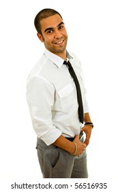 young happy business man portrait in white
