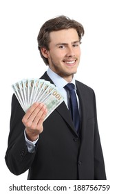 Young happy business man showing money isolated on a white background