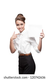 young happy business woman holding sign isolated on white