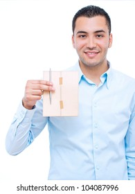 Young happy businessman holding post letter, over white background