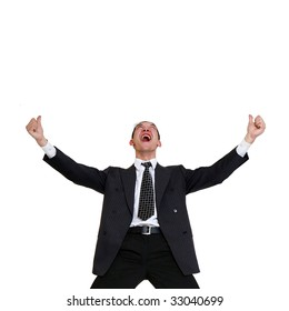 Young happy businessman's, isolated on a white background,