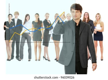 Young happy businesswoman pointing growth on graph, isolated on white