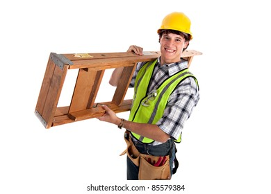 Young Happy Carpenter Carrying Ladders on Isolated Background